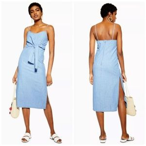 NEW Blue Tie Front Denim Midi Dress - Mid Stone 4